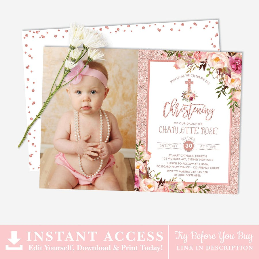 baptism christening photo invitation