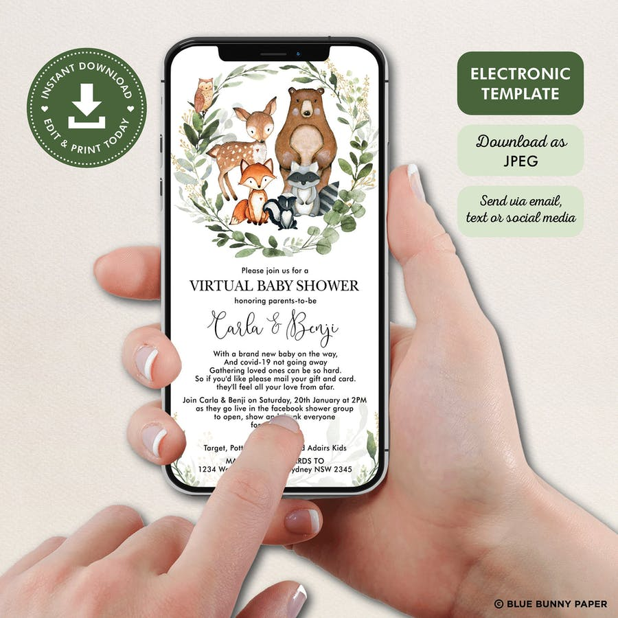 Digital Woodland Baby Shower Invite