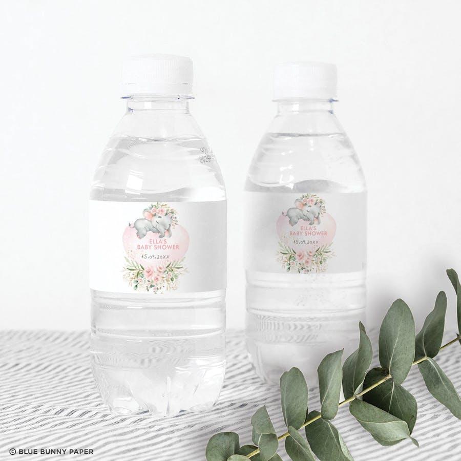 Girl Elephant Water Bottle Labels