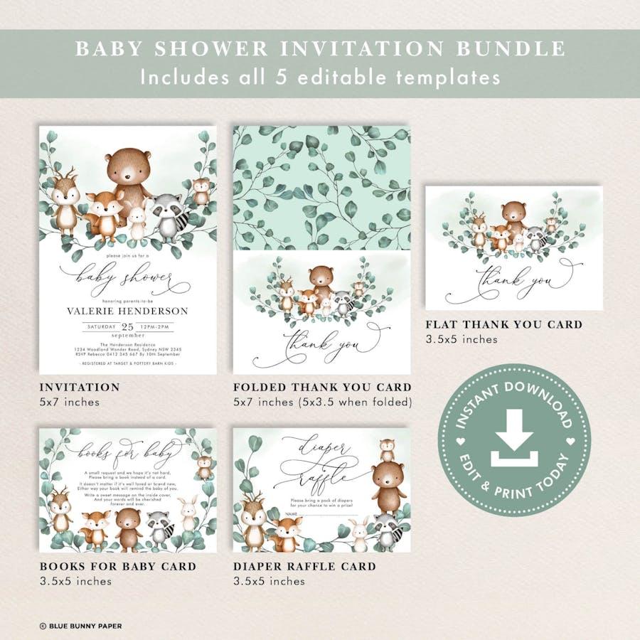 Woodland Baby Shower Invitation Bundle