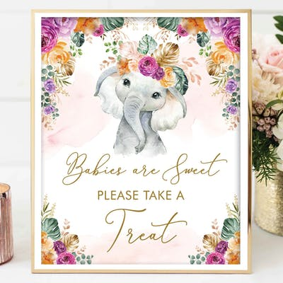 Flower Elephant Take a Treat Sign