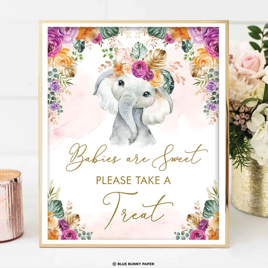 Flower Elephant Take a Treat Sign