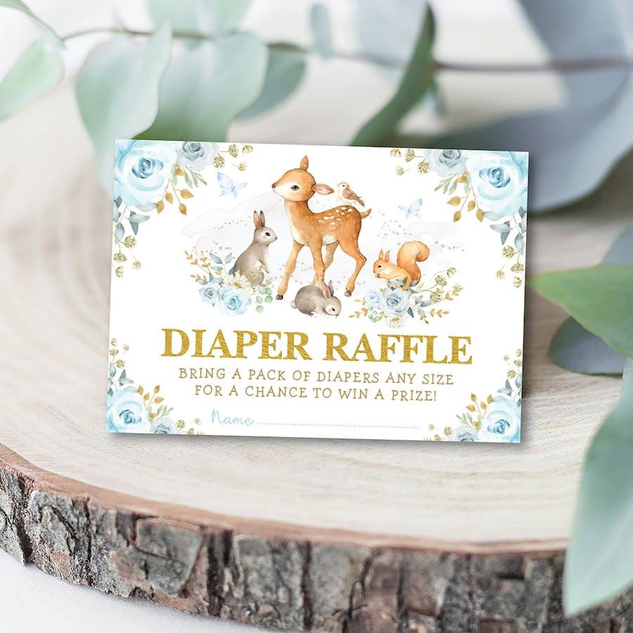 Boy Woodland Baby Shower Diaper Raffle Card