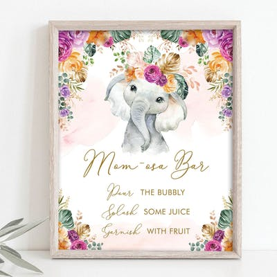 Flower Elephant Momosa Bar Party Sign