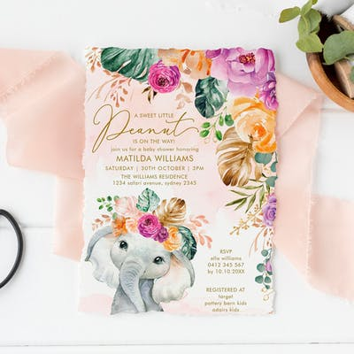 Flowers Elephant Baby Shower Invitation