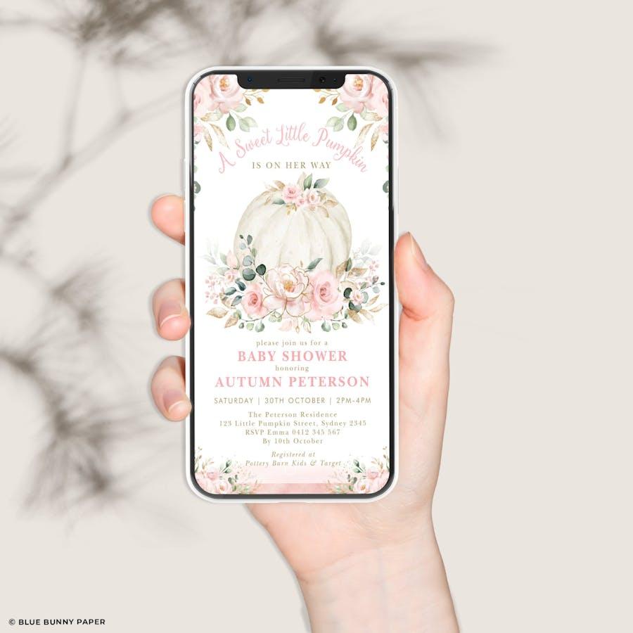 Digital Pumpkin Baby Shower Invitation