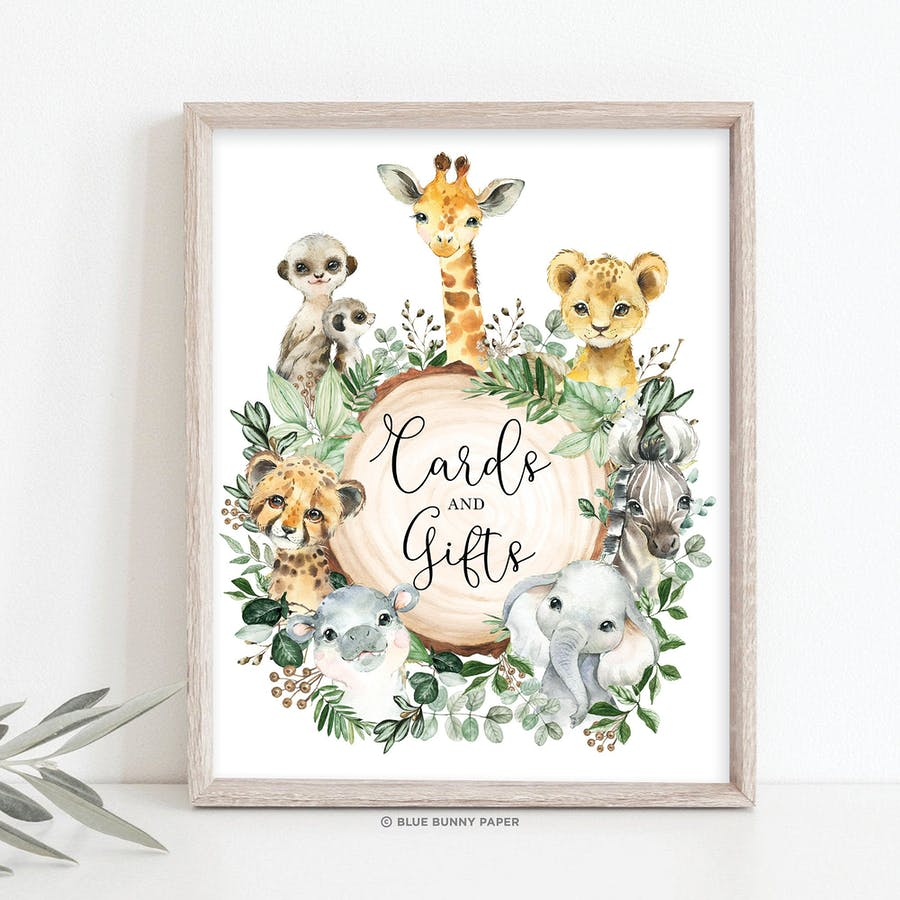 Safari Animals Cards and Gifts Party Sign