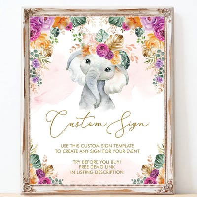Flower Elephant Custom Party Sign