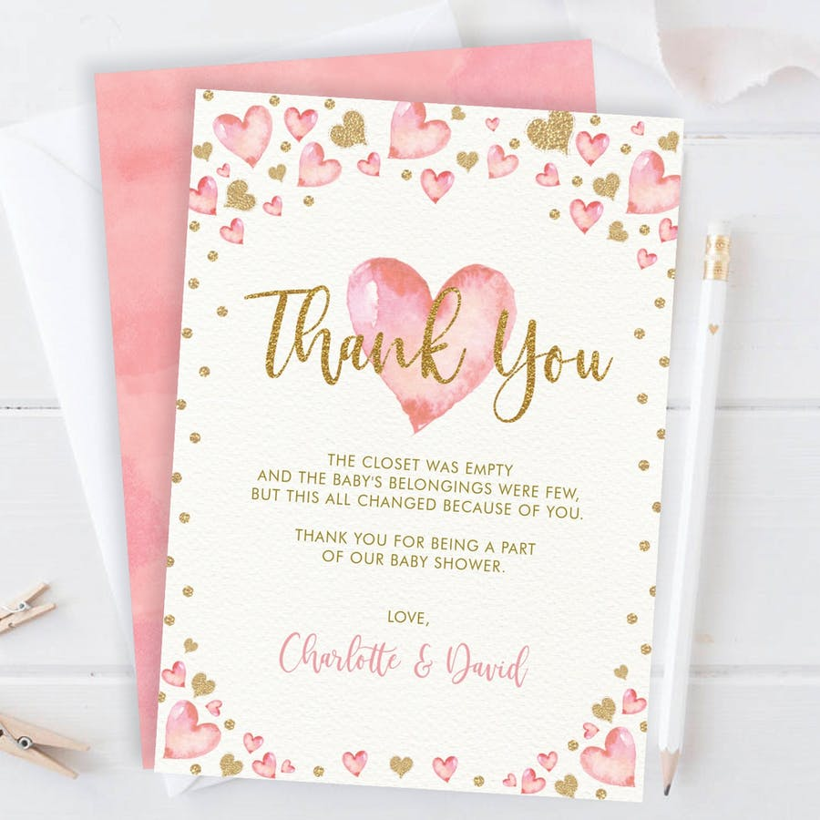 Valentines Baby Shower Thank You Card