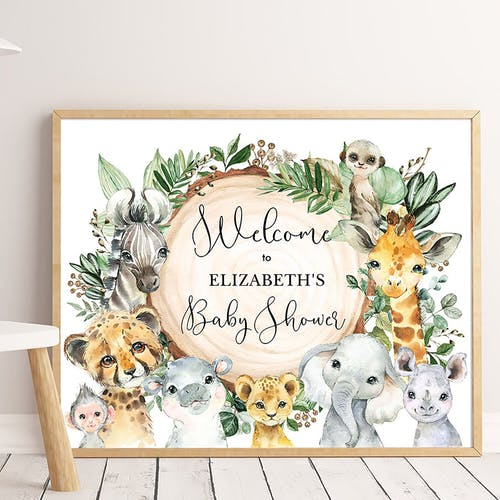 Safari Animals Party Welcome Sign