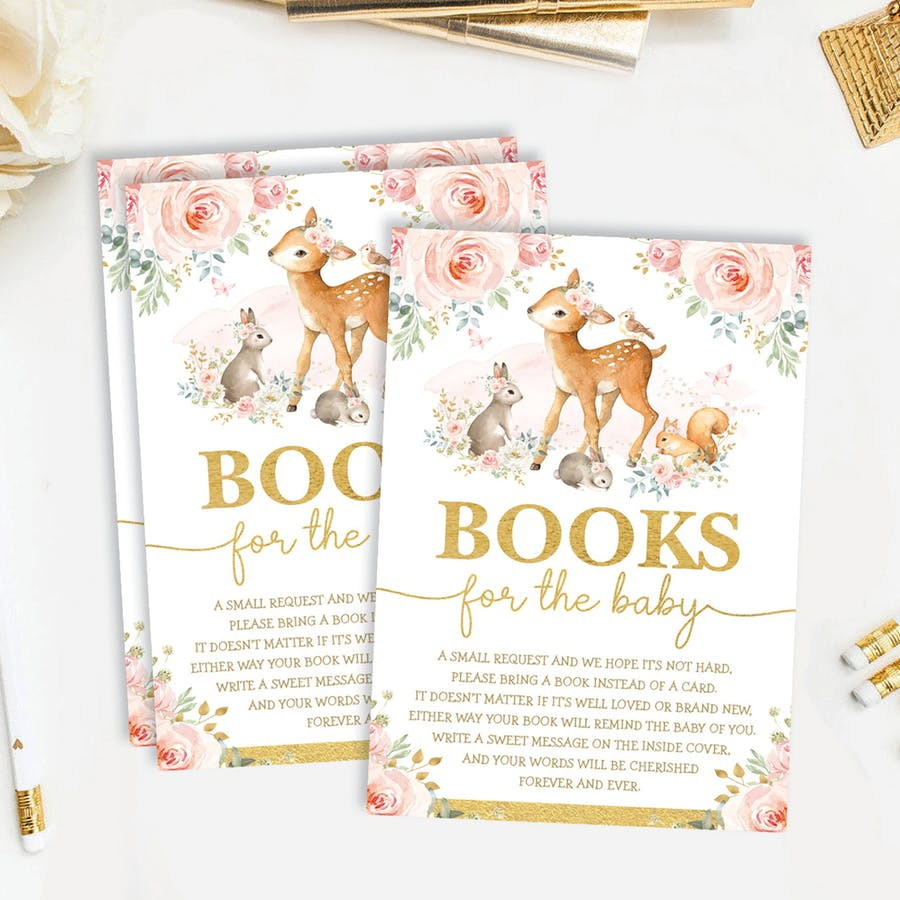 Girl Woodland Baby Shower Book Request Card