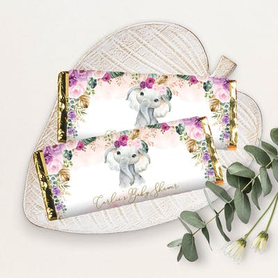 Purple Flowers Elephant Chocolate Bar Wrapper
