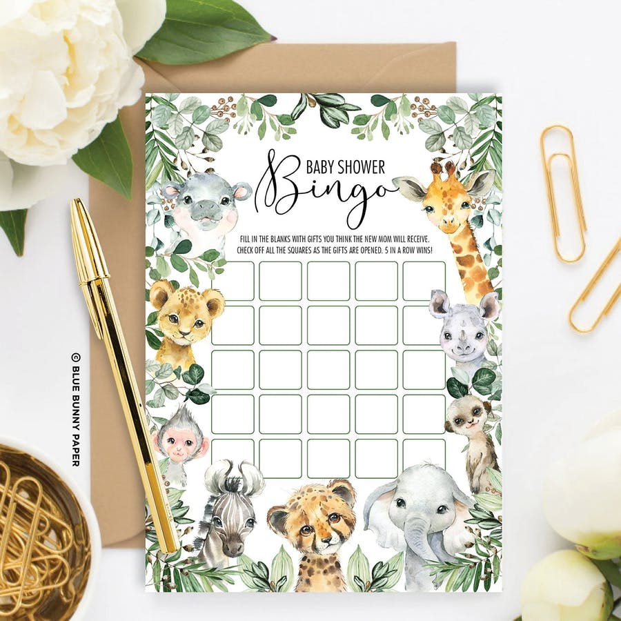 Animal Safari Baby Shower Bingo Game