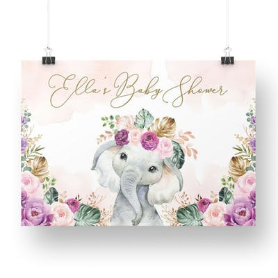 Elephant with Purple Flowers Party Welcome Backdrop