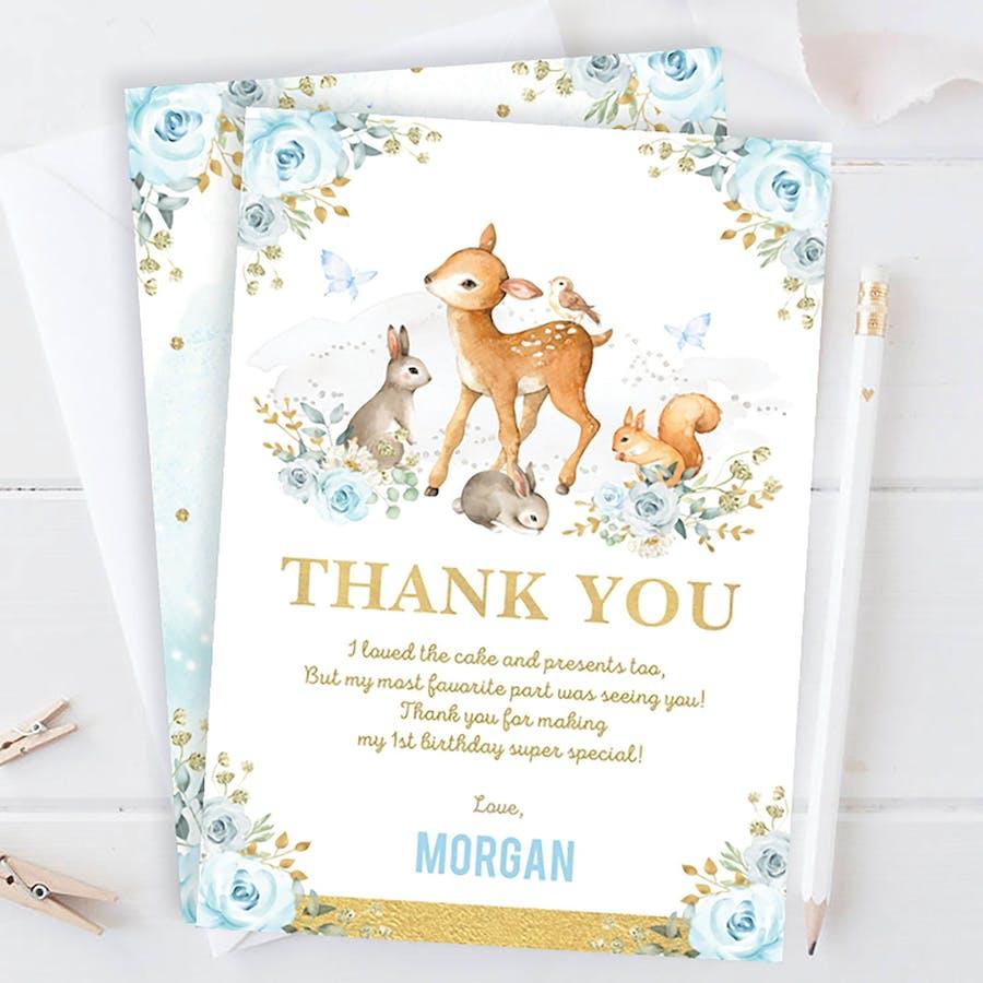 Boy Woodland Party Thank You Card