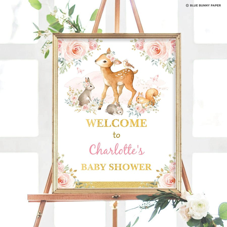 Girl Woodland Party Welcome Sign