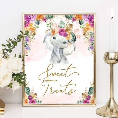 Flower Elephant Sweet Treats Sign