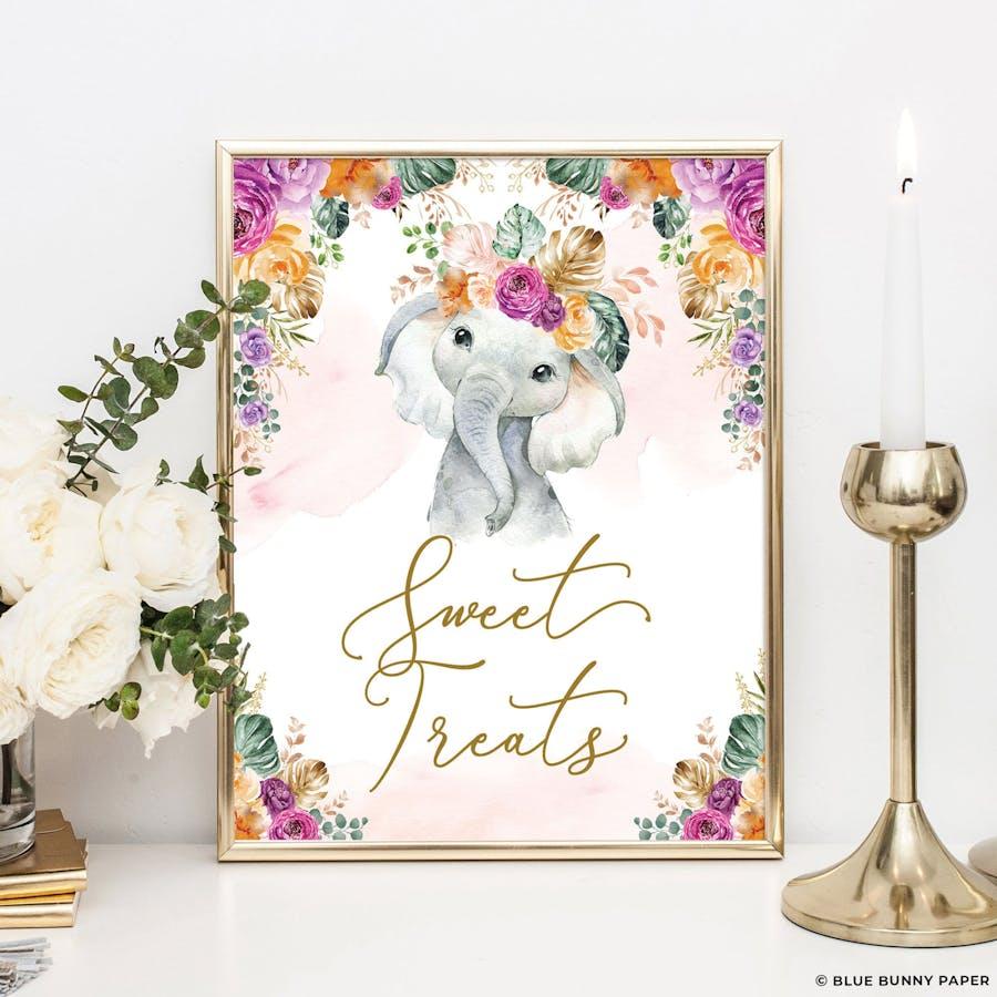Flower Elephant Sweet Treats Sign