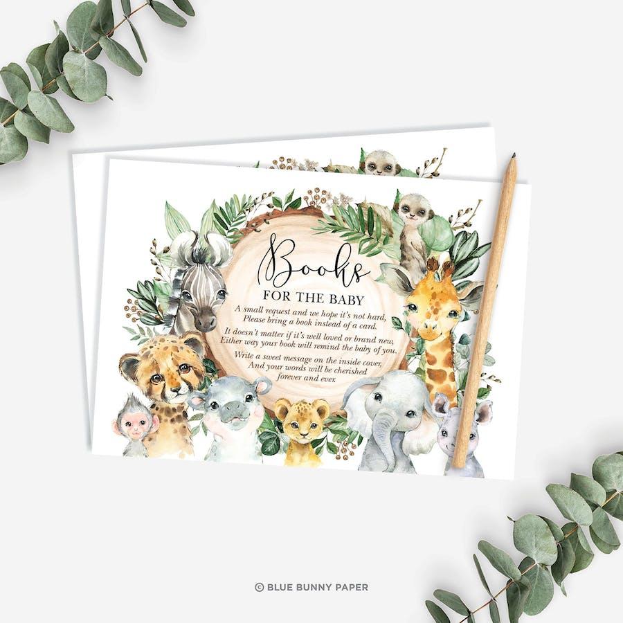 Safari Animals Book Request Insert Card