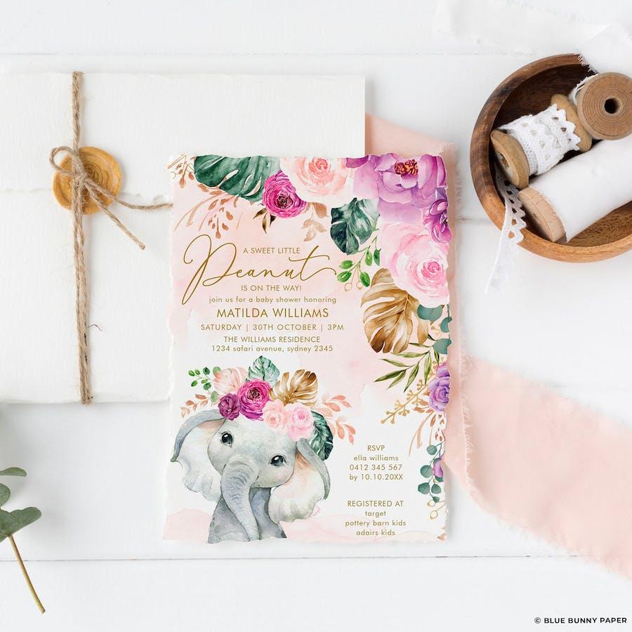 Purple Flowers Elephant Baby Shower Invitation