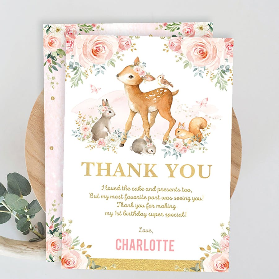 Girl Woodland Party Thank You Card