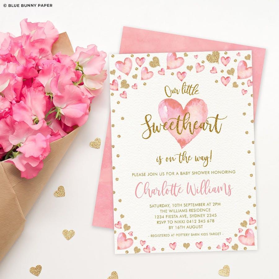 Valentines Baby Shower Invitation