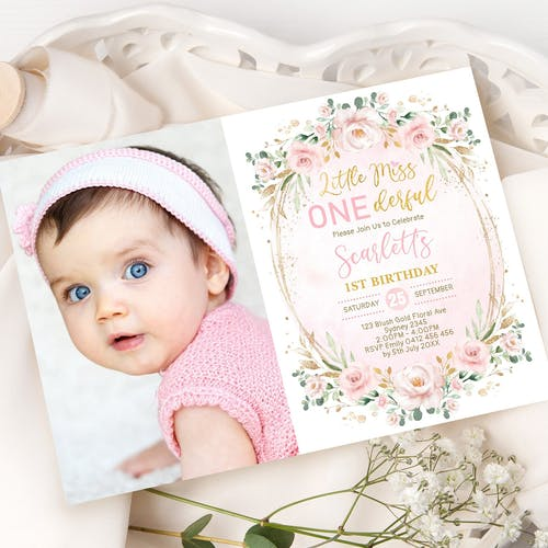 Little Miss ONEderful Birthday Invitation