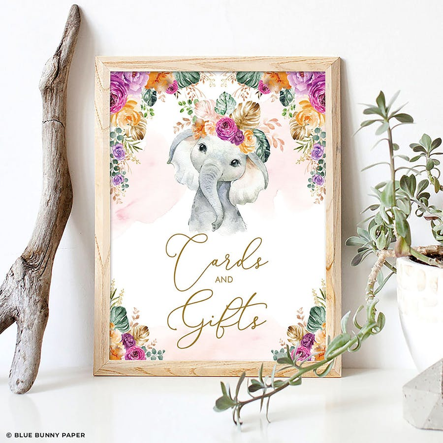 Flower Elephant Cards and Gifts Party Sign