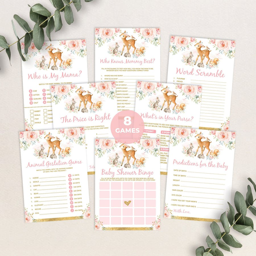 Girl Woodland Baby Shower Games Package