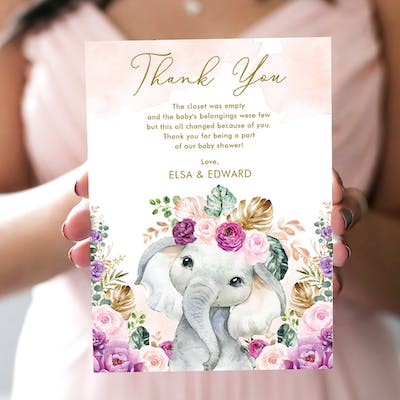 Purple Flowers Elephant Baby Shower Thank You Card