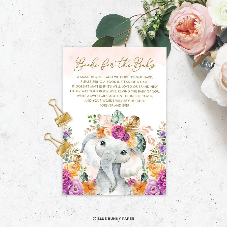 Flowers Elephant Book for the Baby Insert Card