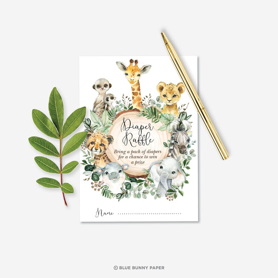 Safari Animals Baby Shower Diaper Raffle Card