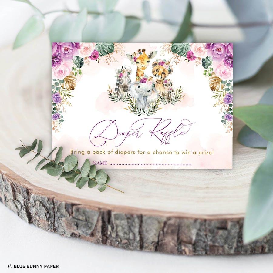Jungle Animals Diaper Raffle Card