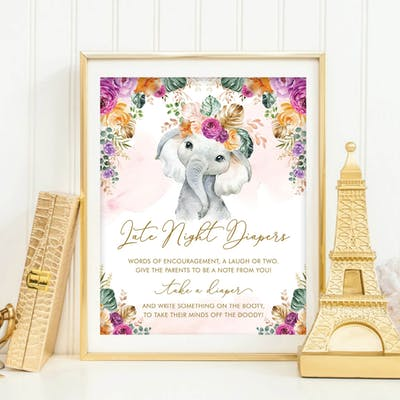 Flower Elephant Late Night Diapers Sign
