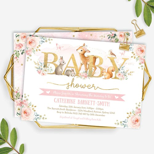 Printable Woodland Girl Baby Shower Invitation
