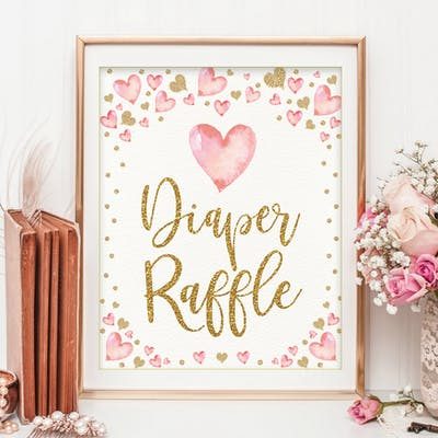Valentines Diaper Raffle Party Sign