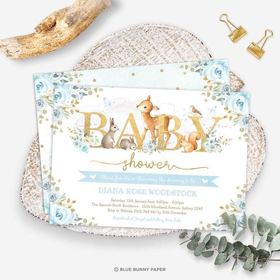 Printable Woodland Boy Baby Shower Invitation