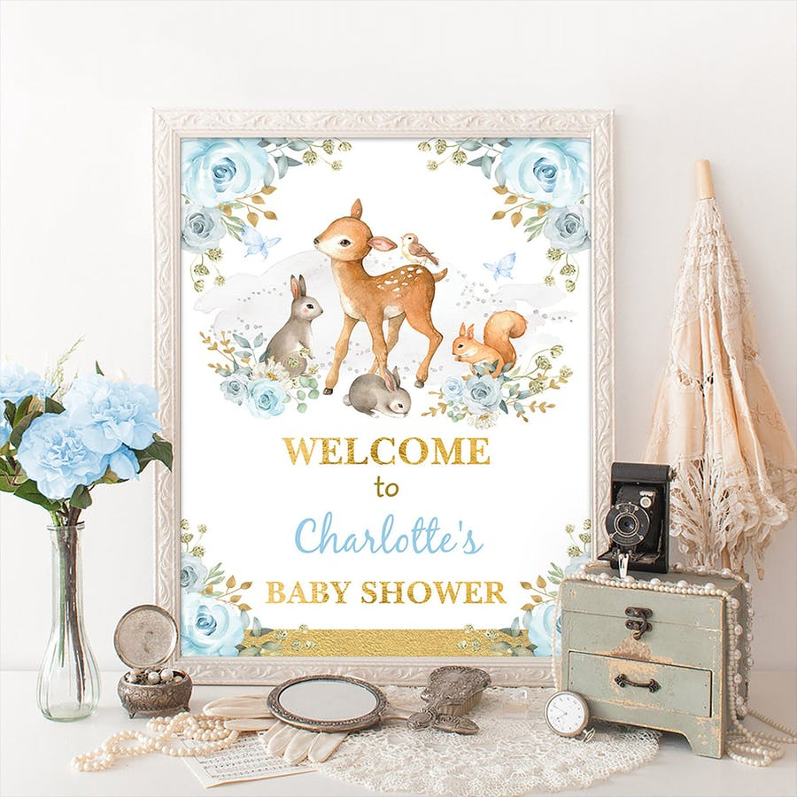 Boy Woodland Party Welcome Sign