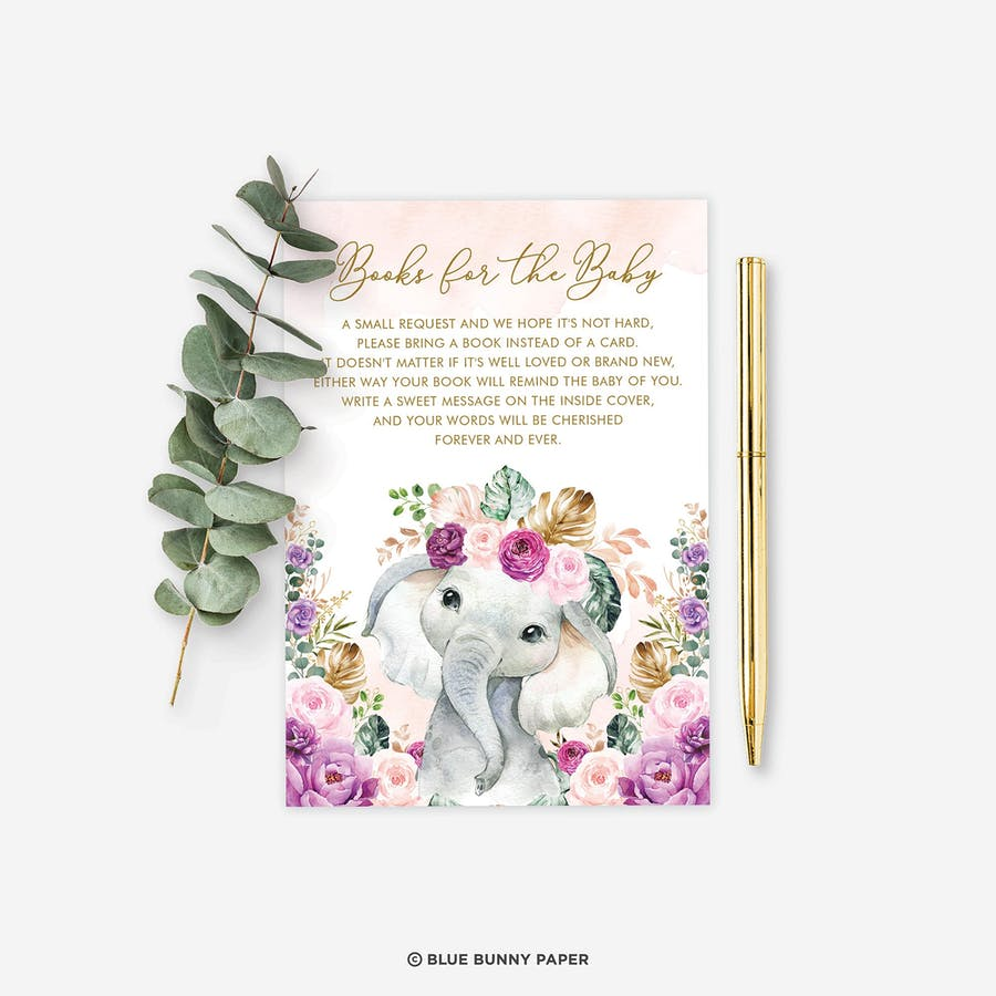 Purple Flowers Elephant Book for the Baby Insert Card