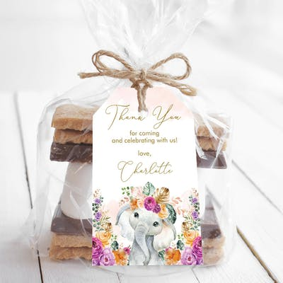 Flower Elephant Party Favor Tags