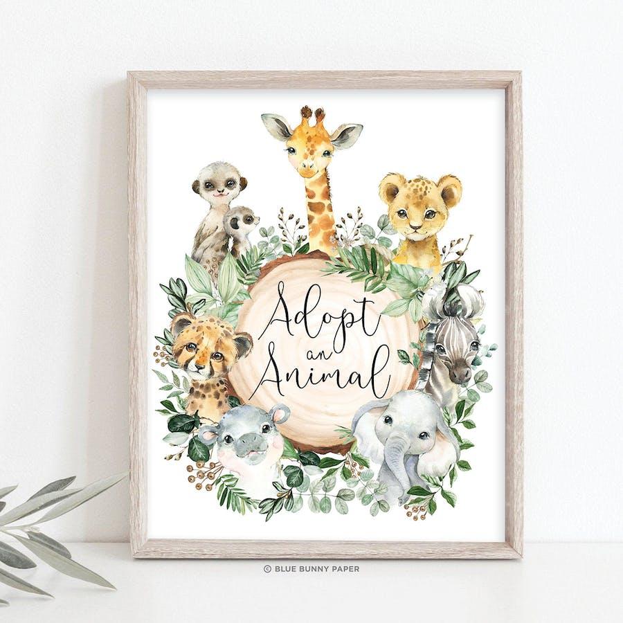 Safari Adopt an Animal Party Sign