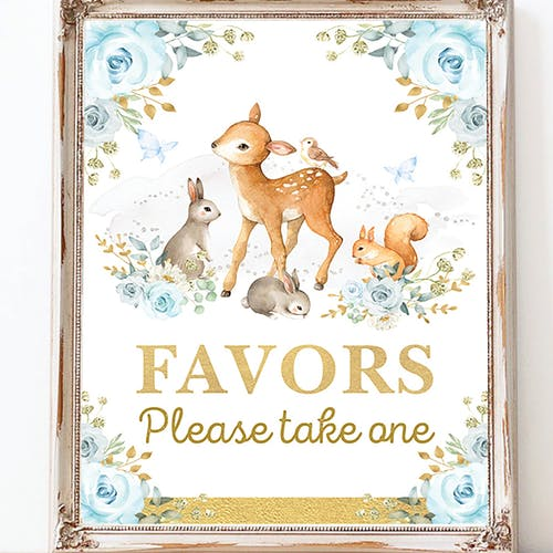 Printable Woodland Favors Party Sign