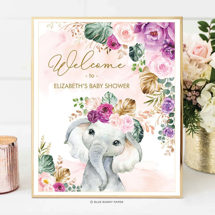 Purple Flowers Elephant Party Welcome Sign