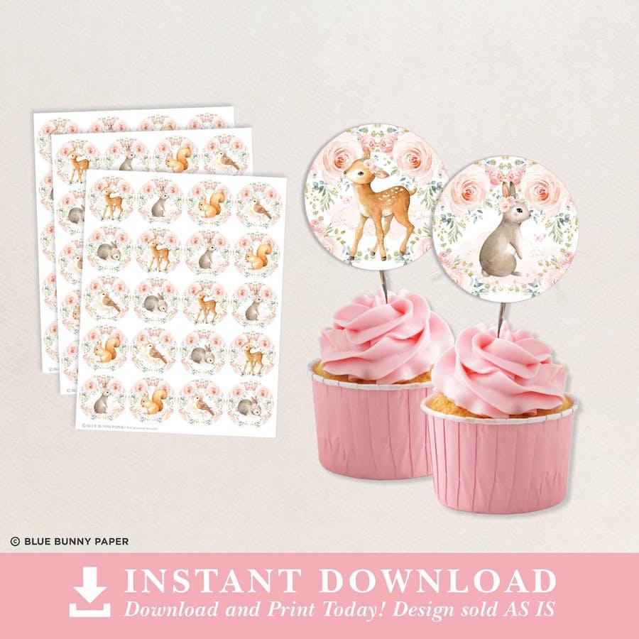 Pink Woodland Cupcake Topper