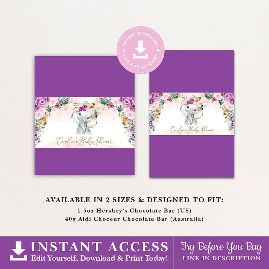 Purple Flowers Elephant Chocolate Bar Wrapper