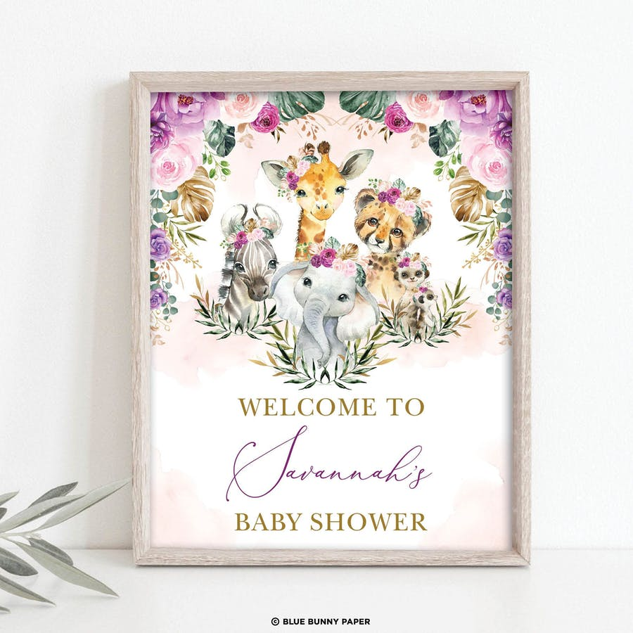 Jungle Animals Girl Baby Shower Welcome Sign