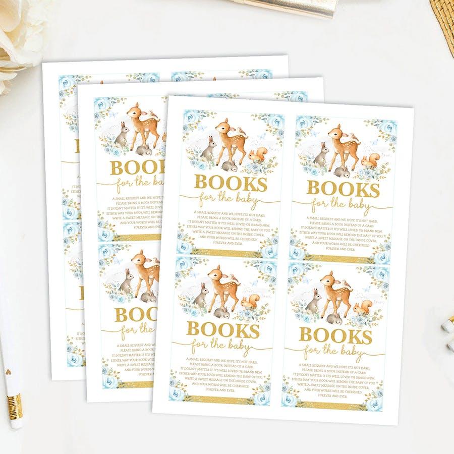 Boy Woodland Baby Shower Book Request Card