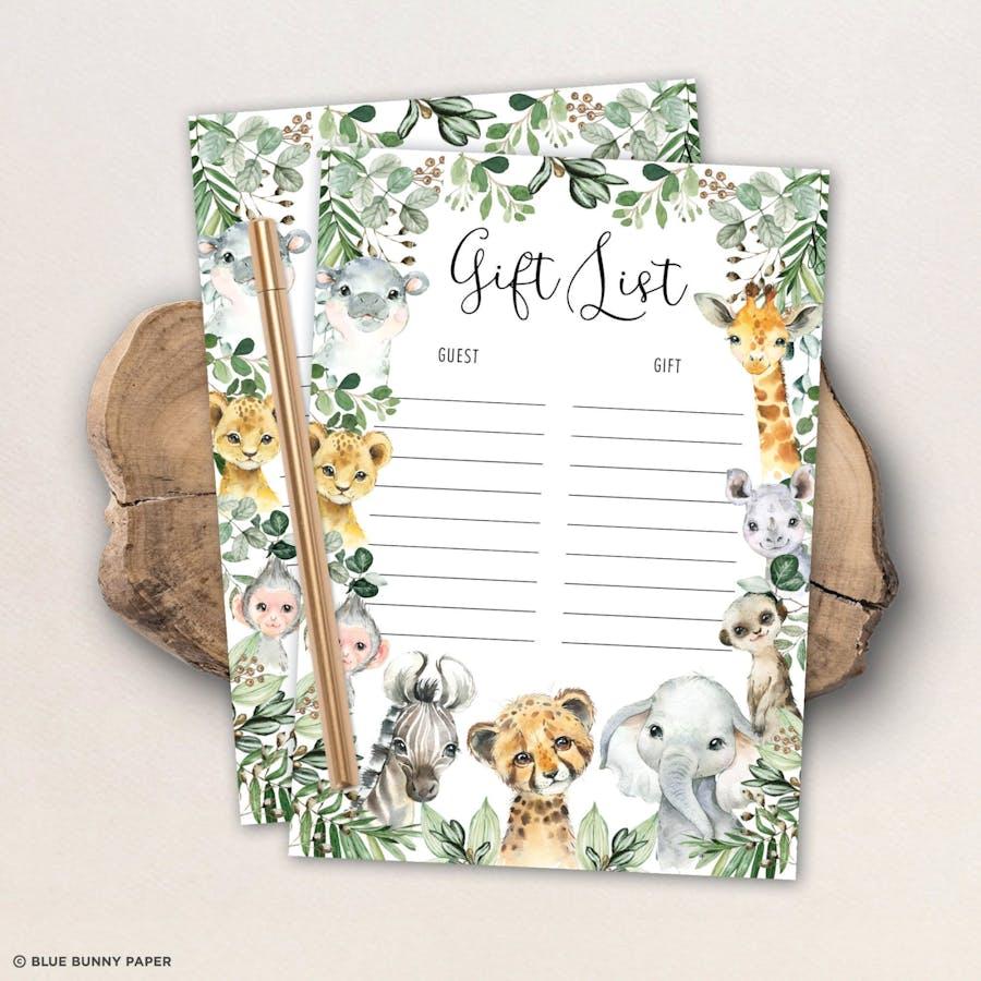Safari Animals Baby Shower Gift List Game