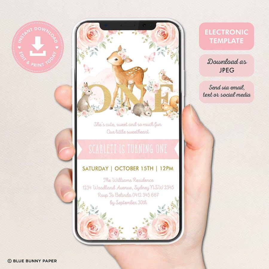 ONE - Girl Woodland Digital First Birthday Invitation