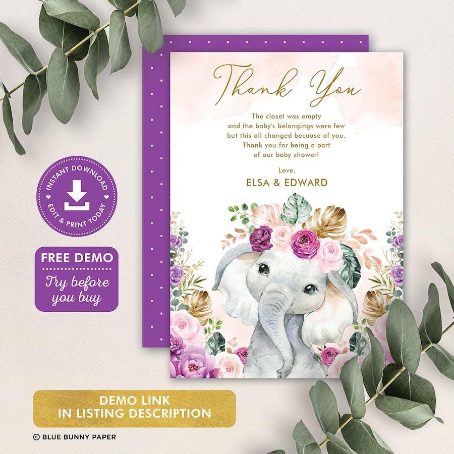 Purple Flowers Elephant Baby Shower Thank You Card